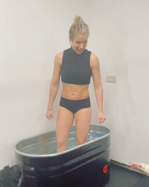 """<p>Athletes take ice baths after training all the time – it can help reduce inflammation, improve recovery time and give your hardworking muscles some welcome relief. Gem's techy tub doesn't have any ice in it but it does look bloomin' chilly. </p><p><a href=""""https://www.instagram.com/p/COUzwK0H4ND/"""" rel=""""nofollow noopener"""" target=""""_blank"""" data-ylk=""""slk:See the original post on Instagram"""" class=""""link rapid-noclick-resp"""">See the original post on Instagram</a></p>"""
