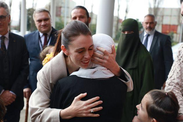 Jacinda Ardern consoling a grieving woman after the 2019 attacks (Photo: Phil Walter via Getty Images)