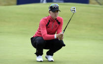 Sweden's Madelene Sagstrom on the fifteenth green during day one of the Women's Open golf tournament at Carnoustie, Scotland, Thursday Aug. 19, 2021. (Ian Rutherford/PA via AP)