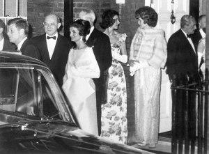 Guests, including John and Jackie Kennedy, leave Buckingham Palace