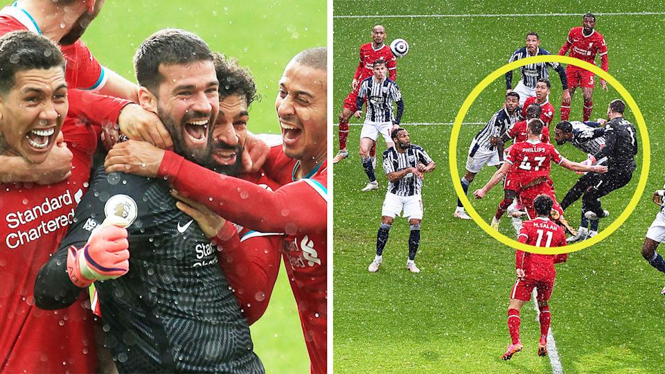 Golakeeper Alisson (pictured left) celebrates with teammates after scoring a goal for Liverpool (pictured right).