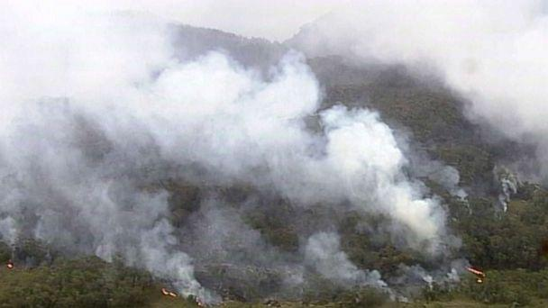 PHOTO: In this image made from video, fire and smoke rise from a bush fire at Blue Mountains, New South Wales state, Australia, Dec. 22, 2019. (Australian Broadcasting Corporation via AP)