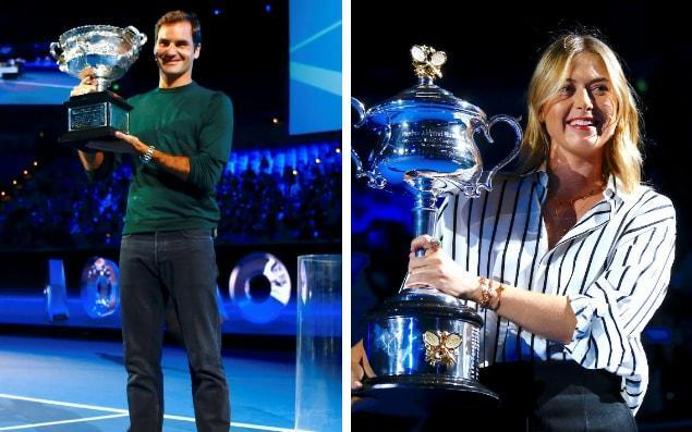 Federer and Sharapova were both present at the live draw this morning - Getty Images