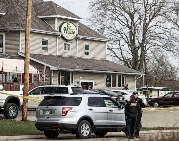 PHOTO: Law enforcement investigate the Somers House bar where a shooting occurred in the early morning, April 18, 2021, in Kenosha Wisconsin. (Tannen Maury/EPA via Shutterstock)