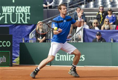Feb 2, 2014; San Diego, CA, USA; Andy Murray (GBR) in action against Sam Querrey (USA) in the USA vs GBR Davis Cup tie at Petco Park. Mandatory Credit: Susan Mullane-USA TODAY Sports