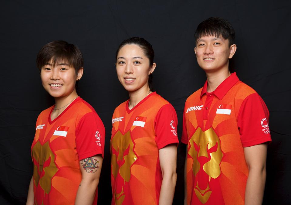 Singapore's Olympic-bound table tennis players (from left) Lin Ye, Yu Mengyu and Clarence Chew. A fourth paddler, Feng Tianwei, is based in Japan. (PHOTO: Singapore Table Tennis Association)