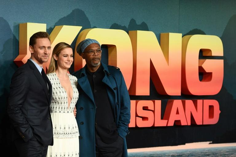 (From L) Actors Tom Hiddleston, Brie Larson and Samuel L. Jackson pose upon arrival at the European premiere of 'Kong: Skull Island', in London, on February 28, 2017