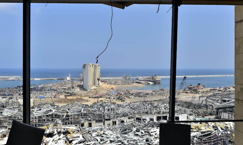 A view of the site of the explosion, as search and rescue operations continue in Beirut.