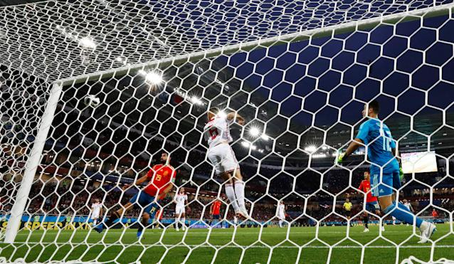 Soccer Football - World Cup - Group B - Spain vs Morocco - Kaliningrad Stadium, Kaliningrad, Russia - June 25, 2018 Morocco's Romain Saiss clears the ball from the line REUTERS/Gonzalo Fuentes