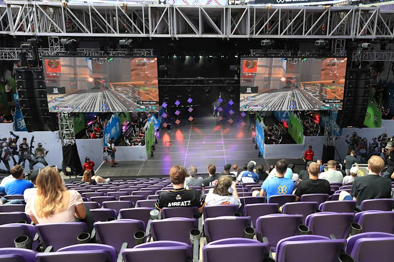 MINNEAPOLIS, MINNESOTA - AUGUST 02: A general view of the stage used for competition during the EXP Invitational-Apex Legends at X Games 2019 Minneapolis at U.S. Bank Stadium on August 02, 2019 in Minneapolis, Minnesota. (Photo by Sean M. Haffey/Getty Images)