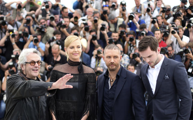 From left, director George Miller, actors Charlize Theron, Tom Hardy and Nicholas Hoult pose for photographers during a photo call for the film Mad Max: Fury Road, at the 68th international film festival, Cannes, southern France, Thursday, May 14, 2015. (AP Photo/Thibault Camus)