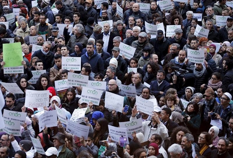 """Demonstrators attend a protest called """"Not in my name"""" of Italian muslims against terrorism in downtown Milan"""