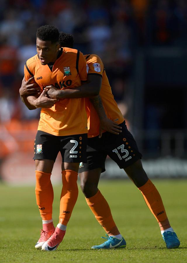 "Soccer Football - League Two - Barnet vs Chesterfield - The Hive, London, Britain - May 5, 2018 Barnet's Richard Brindley celebrates with David Tutonda after scoring their second goal Action Images/Adam Holt EDITORIAL USE ONLY. No use with unauthorized audio, video, data, fixture lists, club/league logos or ""live"" services. Online in-match use limited to 75 images, no video emulation. No use in betting, games or single club/league/player publications. Please contact your account representative for further details."