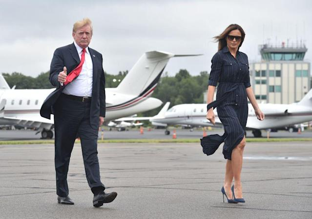 <p>After a weekend spent at Donald Trump's National Golf Club in New Jersey, Melania headed back to the White House in a £150 pinstripe Ralph Lauren dress teamed with Manolo Blahnik heels. <em>[Photo: Getty]</em> </p>