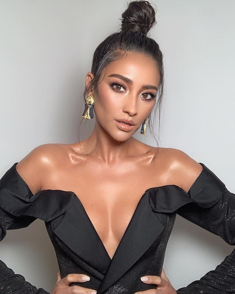 Shay Mitchell proves topknots aren't just for the gym. Photo courtesy of Instagram.