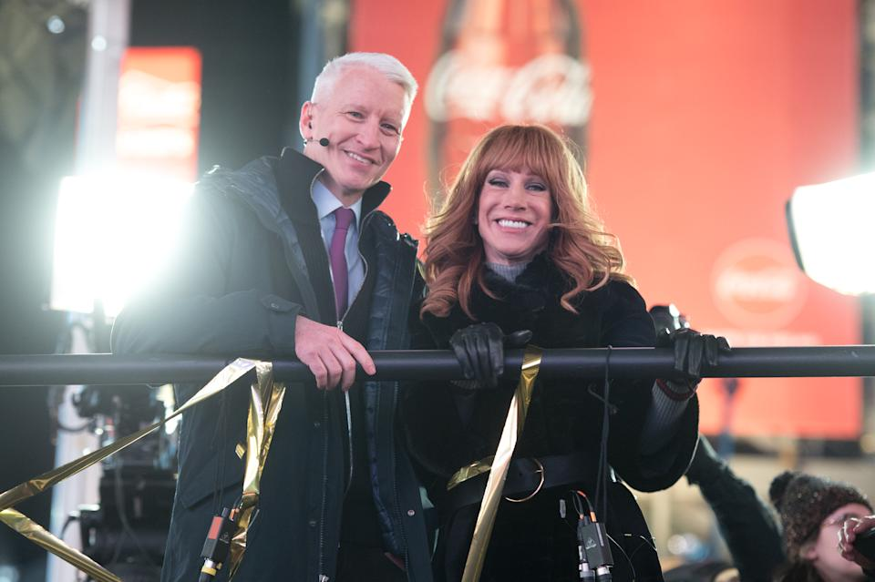 NEW YORK, NY - DECEMBER 31:  (L-R) Anderson Cooper and Kathy Griffin host 'New Year's Eve Live' on CNN during New Year's Eve 2017 in Times Square on December 31, 2016 in New York City.  (Photo by Noam Galai/FilmMagic)