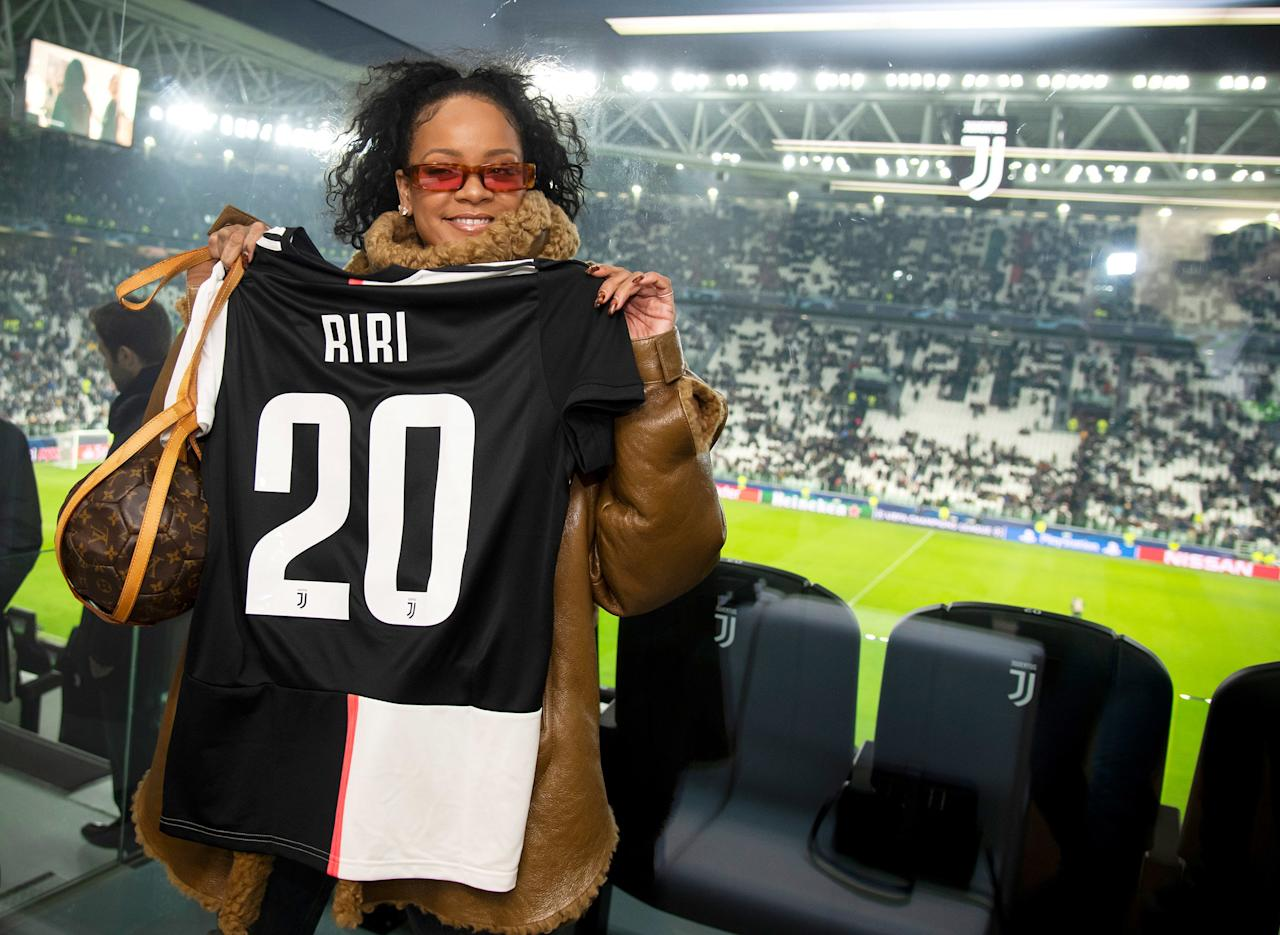 Rihanna attended the UEFA Champions League group D match between Juventus and Atletico Madrid at Allianz Stadium in Turin, Italy.