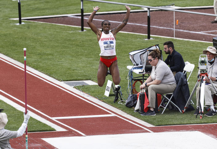 Houston's Samiyah Samuals competes in the women's long jump during the NCAA Division I Outdoor Track and Field Championships, Thursday, June 10, 2021, at Hayward Field in Eugene, Ore. (AP Photo/Thomas Boyd)
