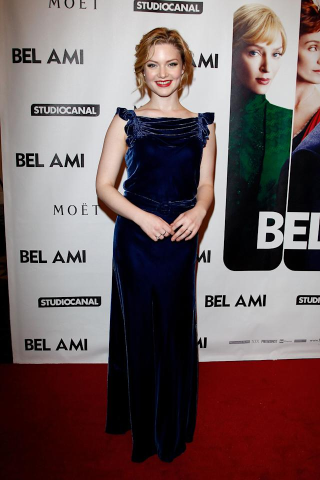 "BERLIN, GERMANY - FEBRUARY 17:  Actress Holliday Grainger attend the ""Bel Ami"" Party during day nine of the 62nd Berlinale International Film Festival at Meistersaal on February 17, 2012 in Berlin, Germany.  (Photo by Andreas Rentz/Getty Images)"