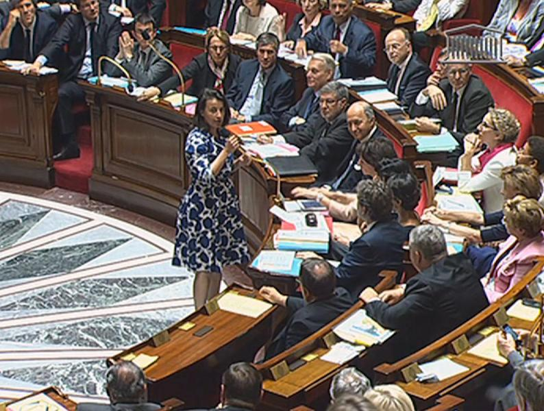 "Cecile Duflot, the Housing minister, speaks before France's National Assembly in Paris, Tuesday, July 17, 2012 in this frame made from TV. The hooting and catcalls began as soon as the Cabinet minister stood, wearing a blue and white flowered dress. It did not cease for the entire time she spoke before France's National Assembly and the heckling came not from an unruly crowd, but from male legislators who later said they were merely showing their appreciation on a warm summer's day. Duflot faltered very slightly, and then continued with her prepared remarks about an urban development project in Paris. ""Ladies and gentlemen, but mostly gentlemen, obviously,"" she said in a firm voice as hoots rang out. She completed the statement on her ministry and again sat down. None of the men in suits who preceded her got the same treatment from the deputies, and the reaction was extraordinary enough to draw television commentary and headlines for days afterward. (AP Photo / National Assembly TV) TV OUT"