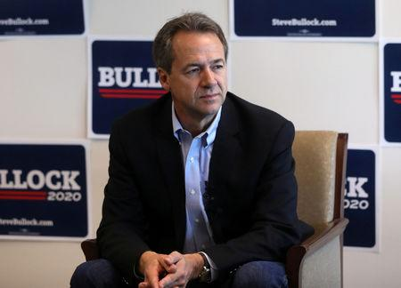 Montana Governor Steve Bullock talks to the media as he launches a 2020 U.S. presidential campaign in Helena, Montana, U.S., May 14, 2019. REUTERS/Jim Urquhart