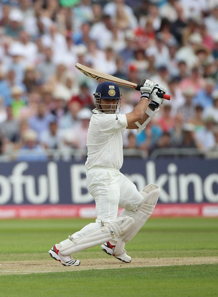 NOTTINGHAM, ENGLAND - JULY 30:  Sachin Tendulkar of India hits out during the second npower Test match between England and India at Trent Bridge on July 30, 2011 in Nottingham, England.  (Photo by Tom Shaw/Getty Images)