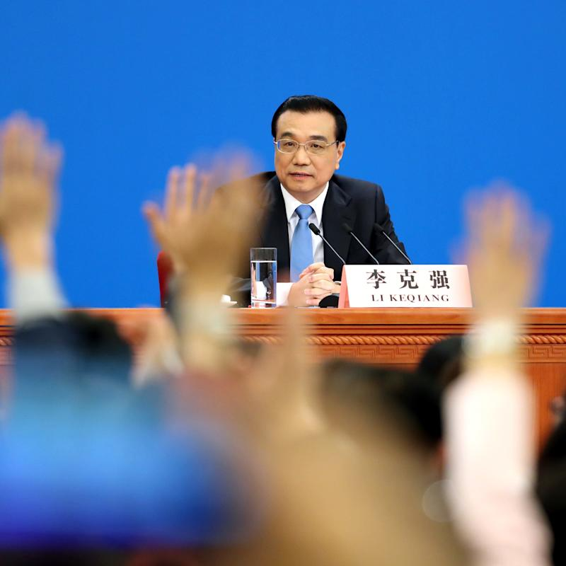 Li Keqiang at his press conference - Copyright (c) 2017 Rex Features. No use without permission.