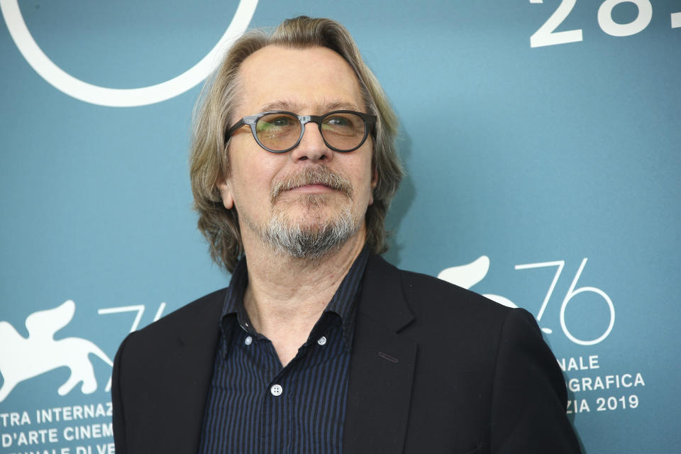 Actor Gary Oldman poses for photographers at the photo call for the film 'The Laundromat' at the 76th edition of the Venice Film Festival in Venice, Italy, Sunday, Sept. 1, 2019. (Photo by Joel C Ryan/Invision/AP)