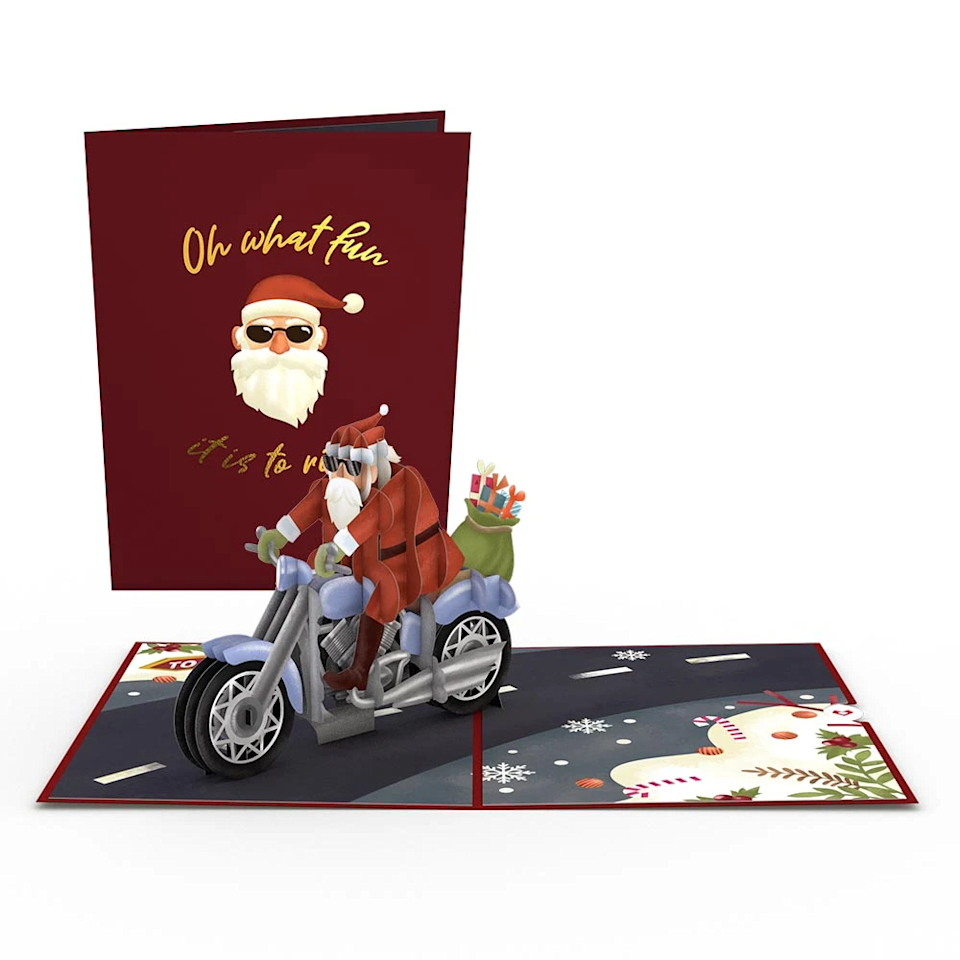 """<h3><strong>Lovepop</strong></h3><br>This brand is your one-stop shopping destination for quality 3D cards — especially if you're looking to send out a select few holiday greetings. This pop-up features a very cool looking Santa riding in style.<br><br>Shop <a href=""""https://www.lovepopcards.com/"""" rel=""""nofollow noopener"""" target=""""_blank"""" data-ylk=""""slk:Lovepop"""" class=""""link rapid-noclick-resp"""">Lovepop</a><br><br><strong>lovepop</strong> Santa Biker 3D Card (5), $, available at <a href=""""https://go.skimresources.com/?id=30283X879131&url=https%3A%2F%2Fwww.lovepopcards.com%2Fproducts%2Fsanta-biker-pop-up-card"""" rel=""""nofollow noopener"""" target=""""_blank"""" data-ylk=""""slk:lovepop"""" class=""""link rapid-noclick-resp"""">lovepop</a>"""