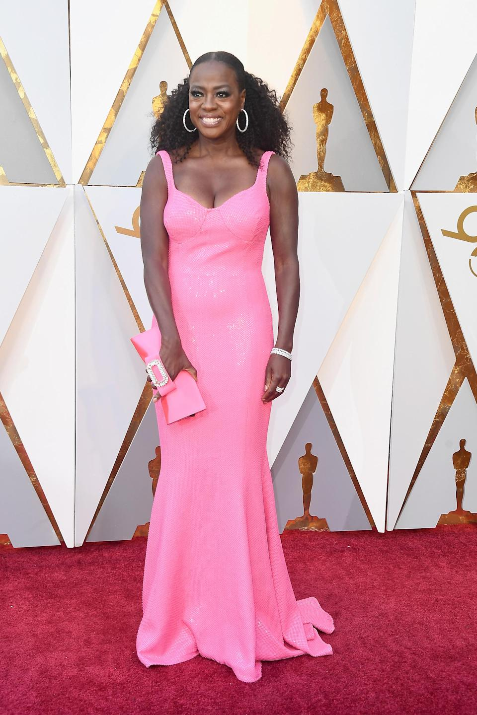 For the 90th Annual Academy Awards in 2018, 'How To Get Away With Murder' star David wowed in a hot pink gown by American designer Michael Kors.