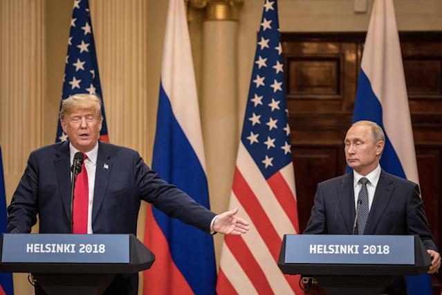 President Trump and President Vladimir Putin at their joint press conference on July 16 in Helsinki. (Photo: Getty Images).