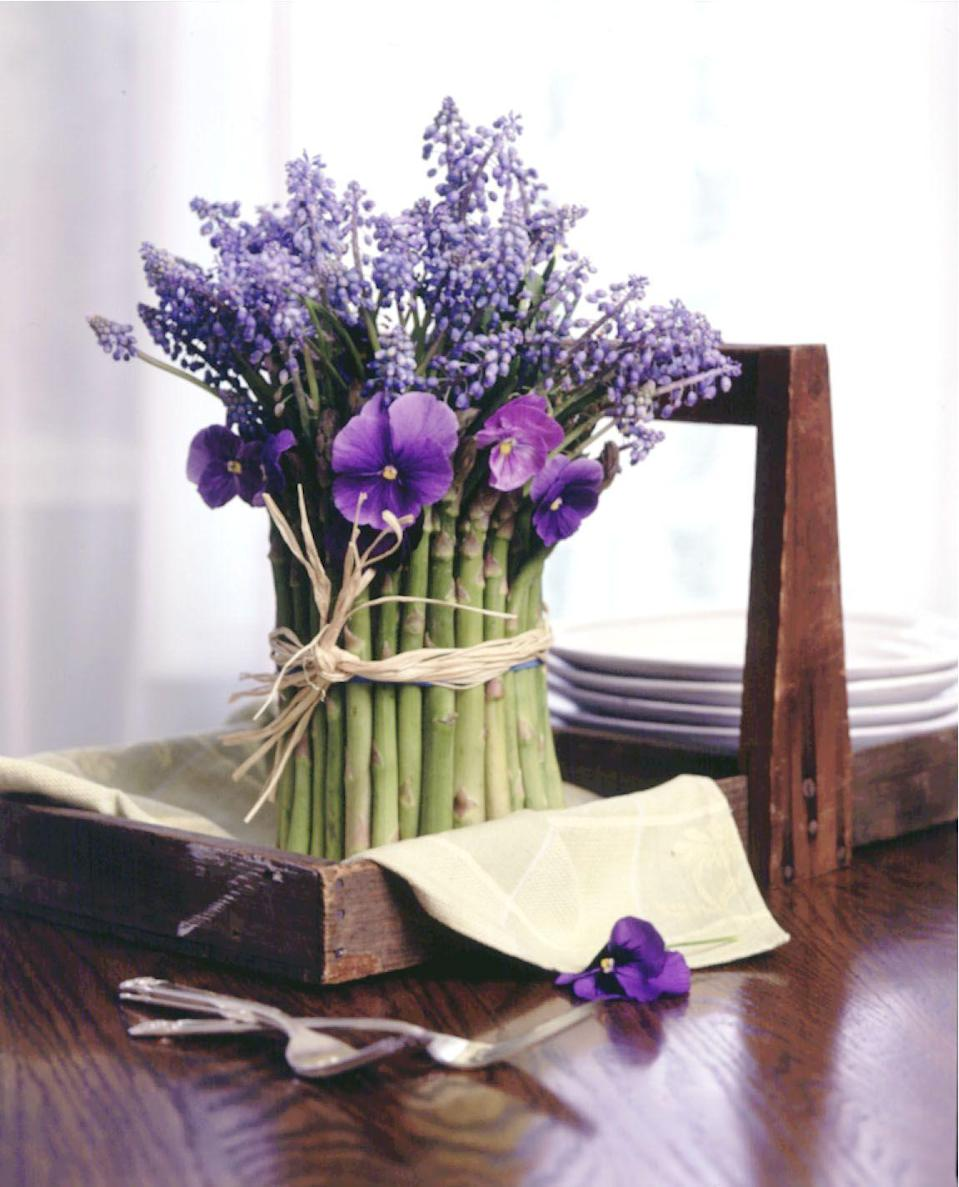 """<p>Forget taking a trip to a florist for a fabulous arrangement — simply walk down the produce aisle to make this unique display. </p><p><em><u><a href=""""https://www.goodhousekeeping.com/home/decorating-ideas/tips/g856/flower-produce-arrangements-0501/"""" rel=""""nofollow noopener"""" target=""""_blank"""" data-ylk=""""slk:Get the tutorial"""" class=""""link rapid-noclick-resp"""">Get the tutorial </a></u></em><em><strong><br></strong></em></p>"""