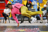 B-boy Nebz, competes during Red Bull BC One event on, Saturday, July 24, 2021. in New York. Many in the breaking community are eager for the art form to expand its audience after the International Olympic Committee announced that it would become an official sport at the Paris 2024 games. But that optimism is hardly unanimous. (AP Photo/Eduardo Munoz Alvarez)