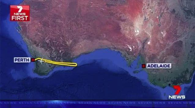 The flight was forced to turn back to Perth. Source: 7 News