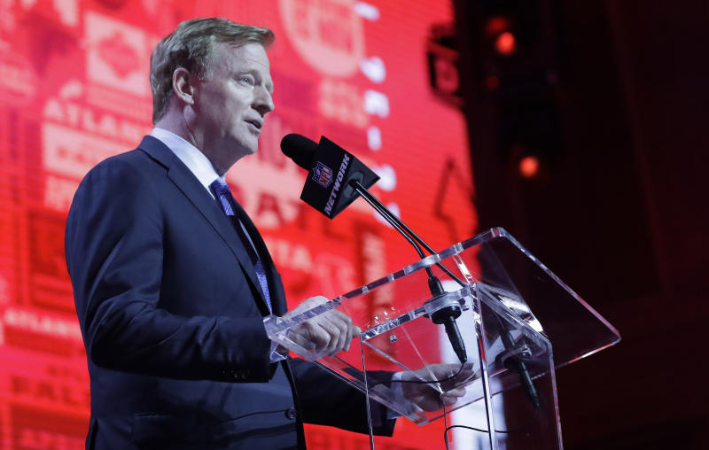 NFL Commissioner Roger Goodell announces that the Atlanta Falcons selected Boston College guard Chris Lindstrom during the first round at the NFL football draft, Thursday, April 25, 2019, in Nashville, Tenn. (AP Photo/Mark Humphrey)
