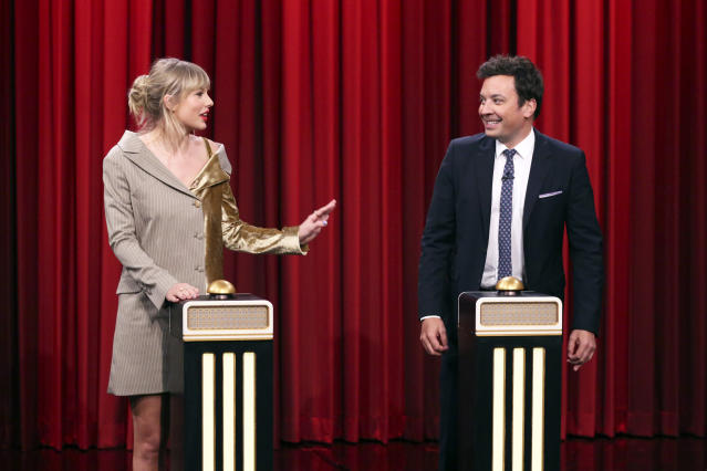 "THE TONIGHT SHOW STARRING JIMMY FALLON -- Episode 1132 -- Pictured: (l-r) Singer-songwriter Taylor Swift and host Jimmy Fallon during the ""Name That Song Challenge"" on October 3, 2019 -- (Photo by: Andrew Lipovsky/NBC/NBCU Photo Bank via Getty Images)"
