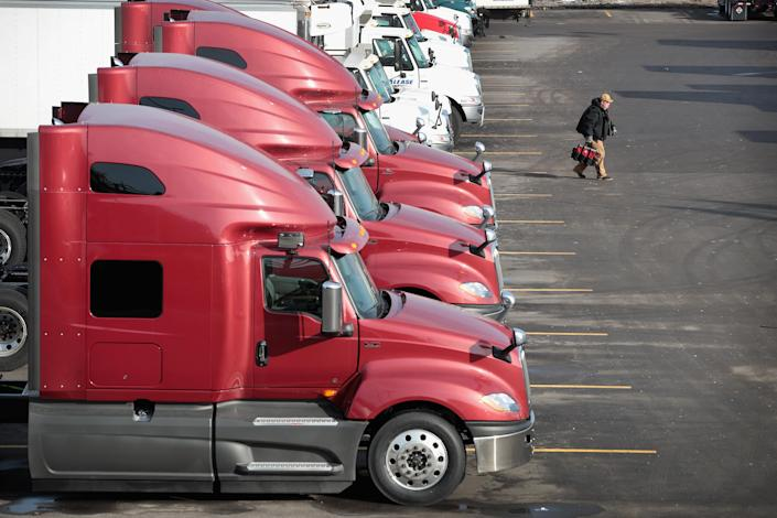 Trucks sit outside at a truck sales and service facility in Chicago, Ill., on Jan. 25, 2018. ( <span>Scott Olson/Getty)</span>
