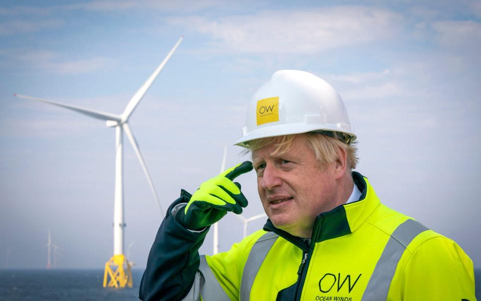 Boris Johnson onboard the Esvagt Alba during a visit to the Moray Offshore Windfarm East, off the Aberdeenshire coast - Jane Barlow/PA Wire