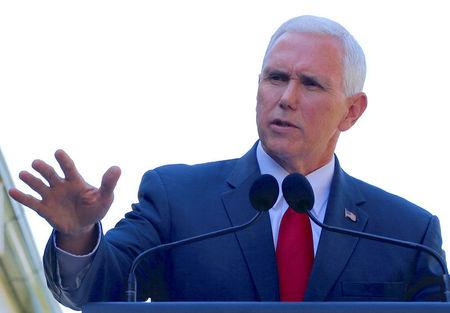Pence speaks during a media conference in Sydney