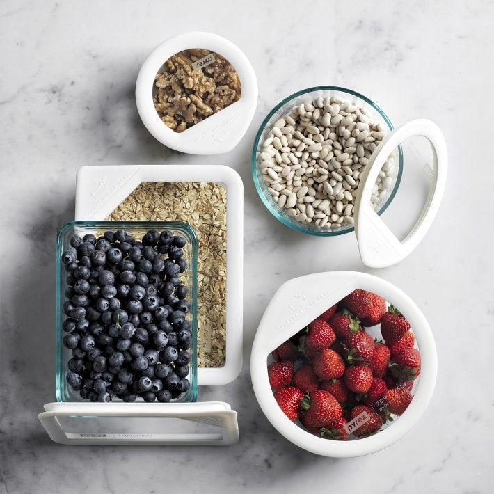 """<p><strong>Pyrex® Glass Storage Set</strong></p><p>williams-sonoma.com</p><p><strong>$62.95</strong></p><p><a href=""""https://go.redirectingat.com?id=74968X1596630&url=https%3A%2F%2Fwww.williams-sonoma.com%2Fproducts%2Fpyrex-ultimate-10-piece-glass-storage-set&sref=https%3A%2F%2Fwww.redbookmag.com%2Fhome%2Fg35380342%2Fhow-to-organize-a-fridge%2F"""" rel=""""nofollow noopener"""" target=""""_blank"""" data-ylk=""""slk:BUY NOW"""" class=""""link rapid-noclick-resp"""">BUY NOW </a></p><p>If you meal prep or order take out a lot, make sure you have a designated zone for leftovers. But it doesn't stop there: You also need to make sure you're storing them the right way. <a href=""""https://food52.com/shop/products/1137-linen-cotton-bowl-covers-set-of-6"""" rel=""""nofollow noopener"""" target=""""_blank"""" data-ylk=""""slk:These bowl covers"""" class=""""link rapid-noclick-resp"""">These bowl covers</a> are also great if you don't want to transfer anything into other containers. </p>"""