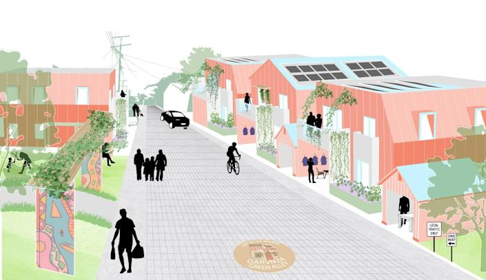A digital drawing shows the silhouettes of pedestrians and cyclists moving through a lane lined with small-scale houses.