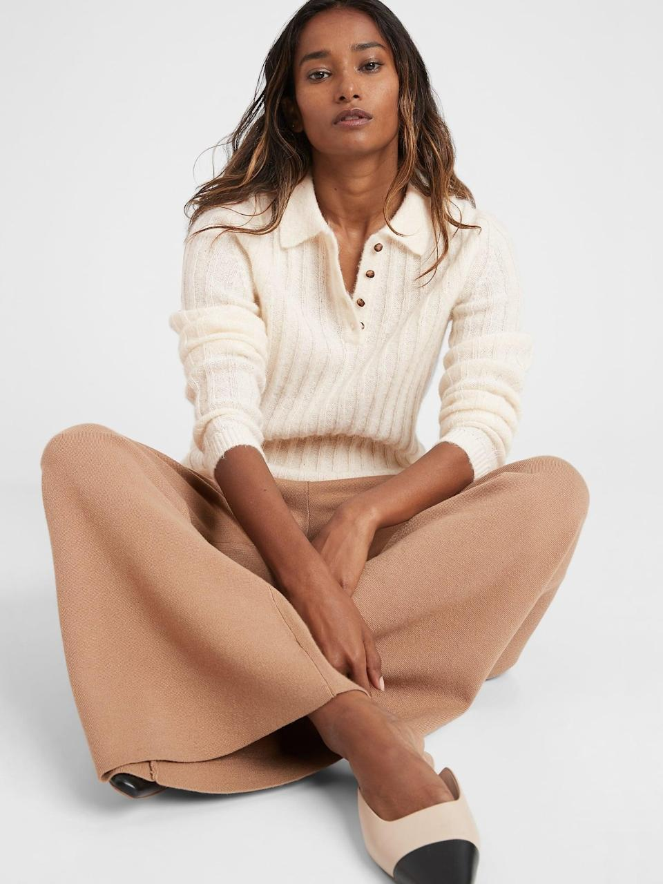 <p>Pair this <span>Banana Republic Heritage Sweater Polo</span> ($88, originally $110) with wide-leg trousers and low slingback pumps, and you're ready to make a statement.</p>