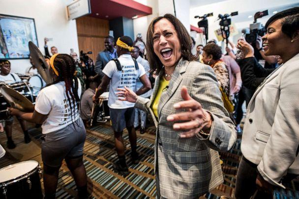 PHOTO: Democratic presidential candidate Sen. Kamala Harris dances with a marching band upon arrival at the 2019 South Carolina Democratic Party State Convention on June 22, 2019, in Columbia, S.C. (Sean Rayford/Getty Images, FILE)