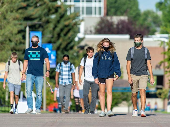 "Classes begin for fall semester at Montana State University on August 17, 2020 in Bozeman, Montana. <p class=""copyright"">William Campbell/Getty Images</p>"