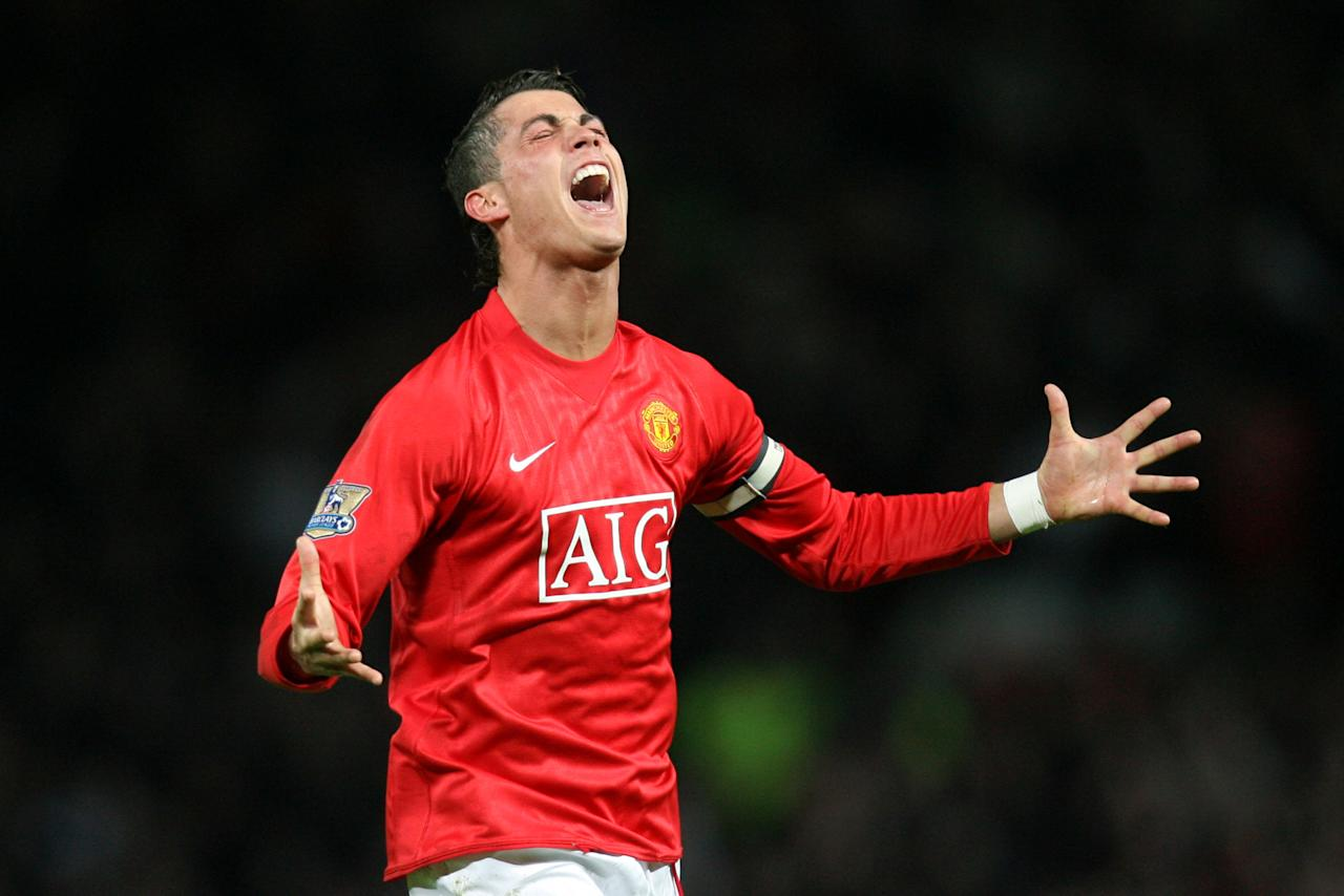 File photo dated 19/3/2008 of Manchester United's Cristiano Ronaldo celebrating after scoring his second goal.