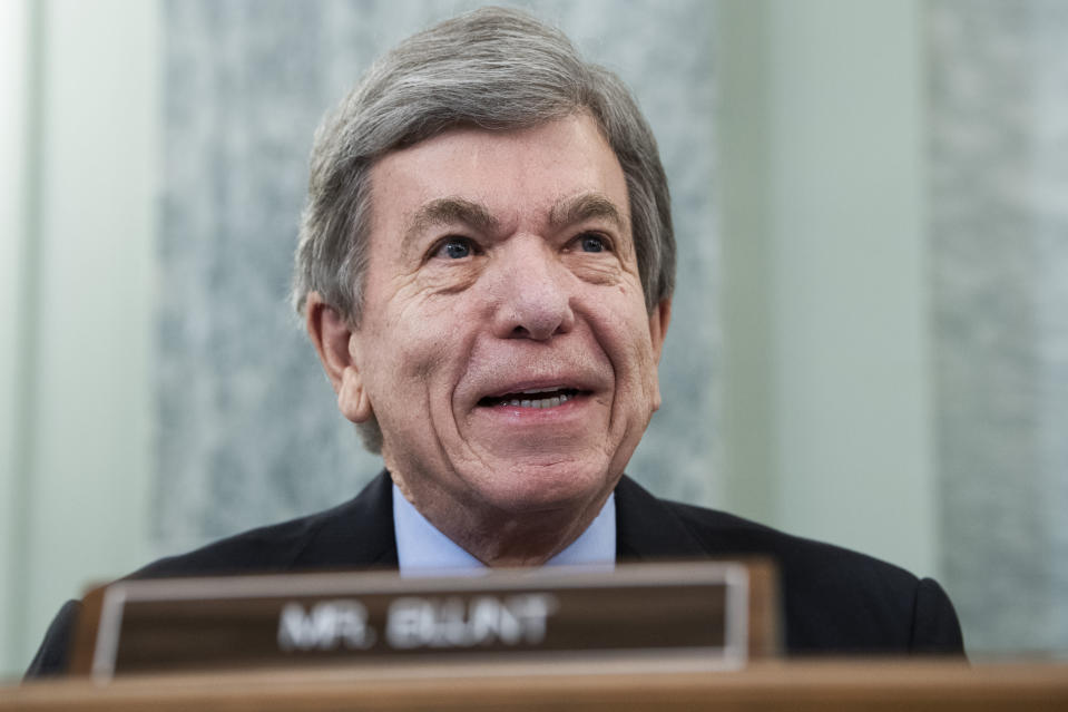 Sen. Roy Blunt, R-Mo., questions Gina Raimondo, during the Senate Commerce, Science, and Transportation Committee confirmation hearing for Raimondo, nominee for Secretary of Commerce, Tuesday, January 26, 2021, on Capitol Hill in Washington. (Tom Williams/Pool via AP)
