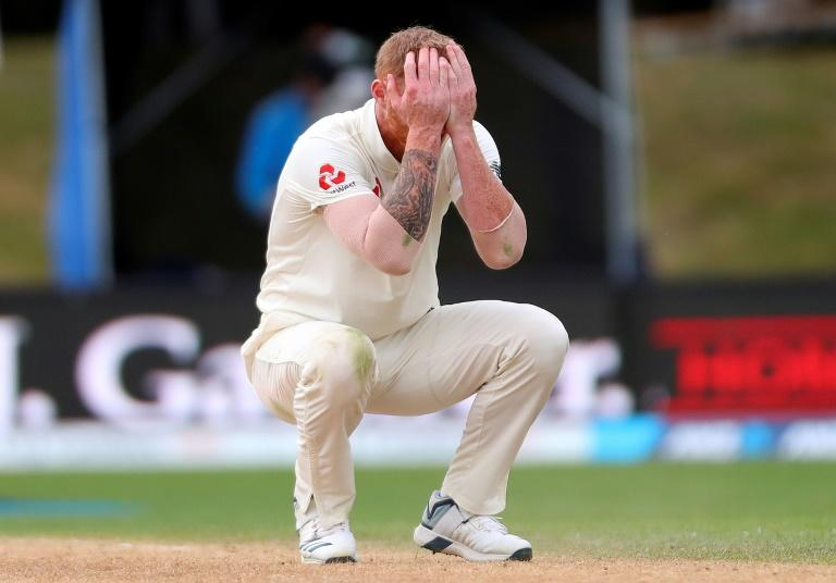England's Ben Stokes reacts after New Zealand's Ross Taylor hit a boundary on day four of the second Test