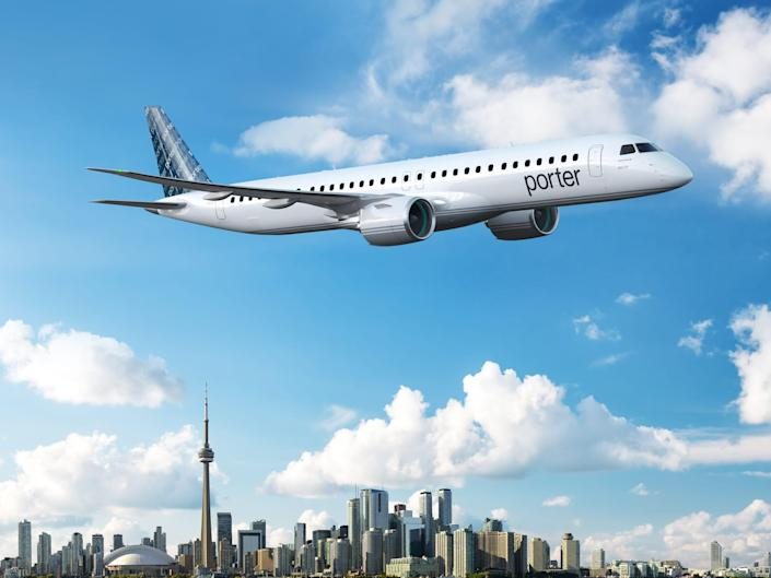 An Embraer E195-E2 aircraft rendering in Porter Airlines colors - Embraer E195-E2