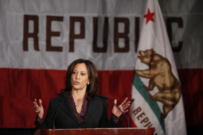 California Attorney General Kamala Harris gives her first news conference in Los Angeles on in 2010.  (Photo: Damian Dovarganes/AP)