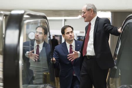 Senators Marco Rubio (R-FL) and Pat Toomey (R-PA) speak as they walk to the Senate Chamber to vote on legislation for funding the Department of Homeland Security
